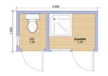 Бытовка с душем и туалетом 3х1.5