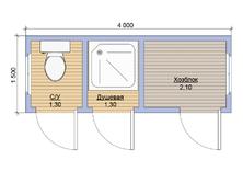 Бытовка с туалетом 4х1.5