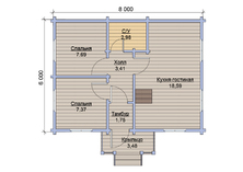 Гостевой дом из бруса 6х8