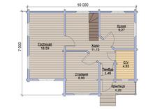 Жилой дом из бруса 10х7